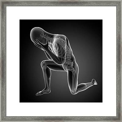 Person Kneeling Framed Print by Sebastian Kaulitzki