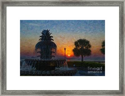 Pineapple Fountain At Dawn Framed Print