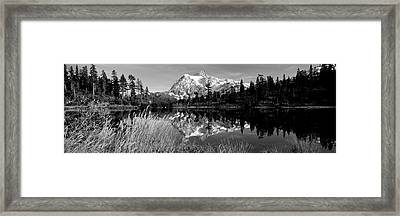 Reflection Of Mountains In A Lake, Mt Framed Print