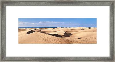 Sand Dunes In A Desert, Maspalomas Framed Print