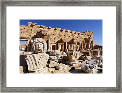 Sculpted Medusa Head At The Forum Of Severus At Leptis Magna In Libya Framed Print