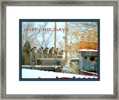 7 Sparrows Sitting On A Fence Greeting Card Framed Print