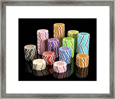 Stacks Of Gambling Chips Framed Print by Ktsdesign