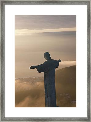 The Art Deco Statue Of Jesus, Known Framed Print by Peter Adams
