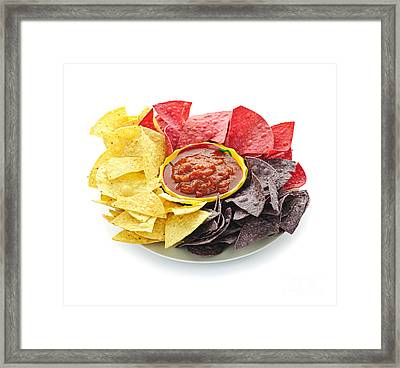 Tortilla Chips And Salsa Framed Print