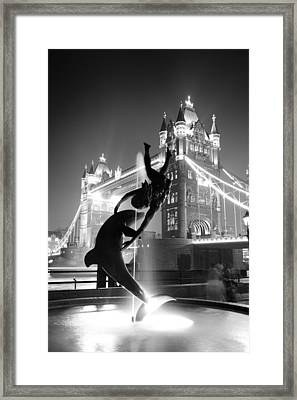 Tower Bridge And Statue Framed Print