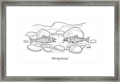 Nice Lip Piercing Framed Print by Kim Warp