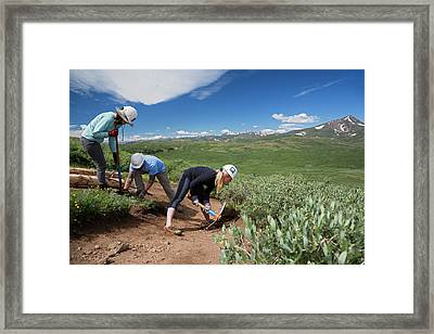 Volunteers Maintaining Hiking Trail Framed Print by Jim West