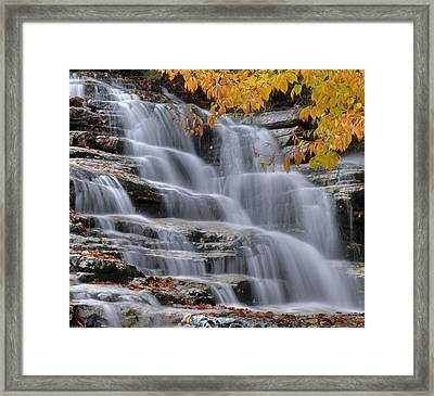 Waterfall In Autumn Framed Print by Stephen  Vecchiotti