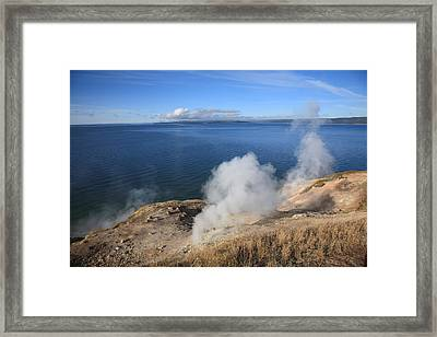 Yellowstone Lake And Geysers Framed Print by Frank Romeo