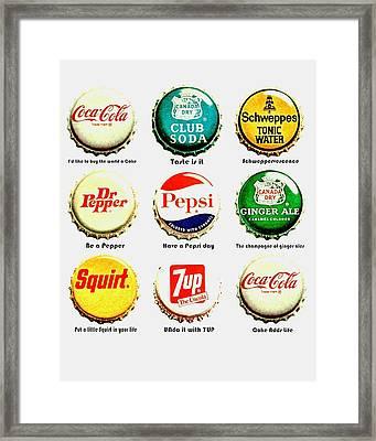 70s Soft Drink Slogans Framed Print