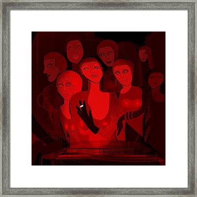 713 - Red Light Ladies  Framed Print by Irmgard Schoendorf Welch