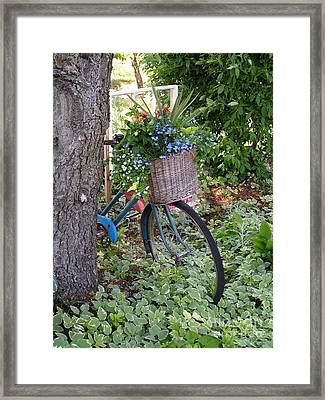 #755 D45 Bike And A Basket Of Flowers Framed Print