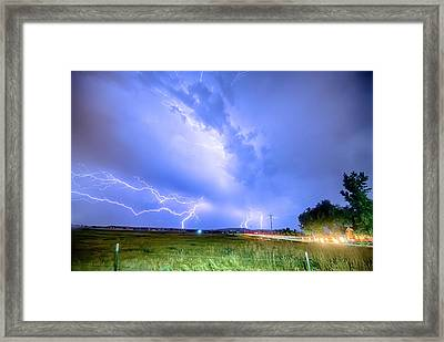 95th And Woodland Lightning Thunderstorm View Hdr Framed Print