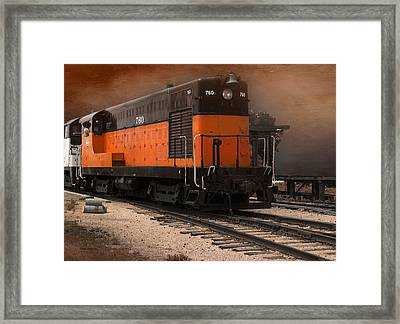 760 Train Engine Approaching Textured Framed Print