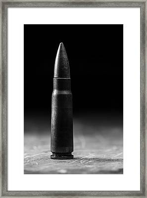 7.62 X 39mm Black And White Framed Print by Andrew Pacheco