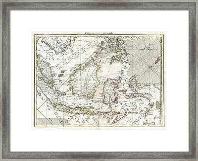 770 Bonne Map Of The East Indies Java Sumatra Borneo Singapore Framed Print by Paul Fearn