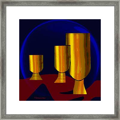 777 -  Golden Goblets Framed Print by Irmgard Schoendorf Welch