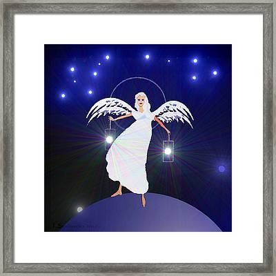 783 - Angel With Two Lanterns   Framed Print