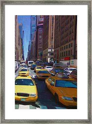 Framed Print featuring the painting 7th Avenue W36th Street Nyc by Nop Briex