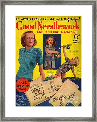 1930s Uk Good Needlework And Knitting Framed Print by The Advertising Archives