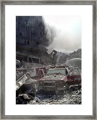 9-11-01 Wtc Terrorist Attack Framed Print by Steven Spak