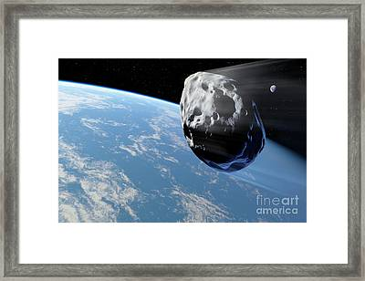 Asteroid Approaching Earth, Artwork Framed Print