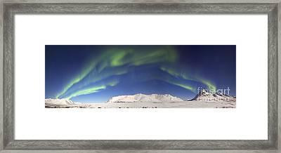 Aurora Borealis With Moonlight Framed Print by Joseph Bradley