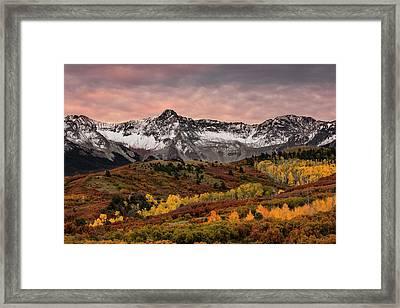 Autumn Aspen Trees And Sneffels Range Framed Print