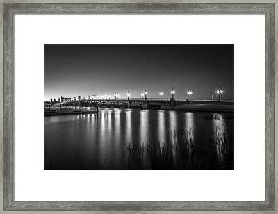 Bridge Of Lions St Augustine Florida Painted Bw Framed Print