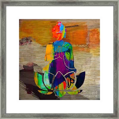 Buddah On A Lotus Framed Print