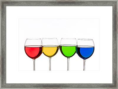 Colorful Wine Glasses Framed Print by Peter Lakomy