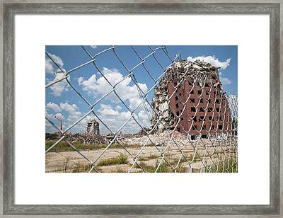 Demolition Of Detroit Housing Towers Framed Print