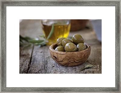 Fresh Olives Framed Print by Mythja  Photography