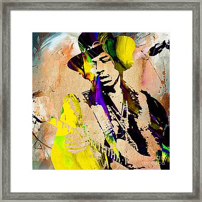 Jimi Hendrix Painting Framed Print by Marvin Blaine