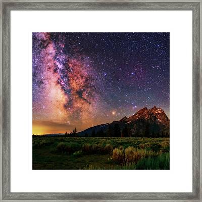 Milky Way Over Grand Teton National Park Framed Print