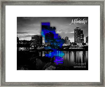 Milwaukee Map And Skyline Watercolor Framed Print by Marvin Blaine