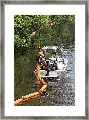 Oil Spill Cleanup Framed Print