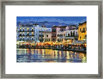 Painting Of The Old Port Of Chania Framed Print