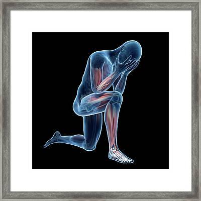 Person Kneeling Framed Print