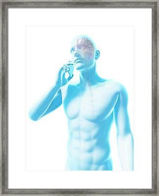 Person Using A Mobile Phone Framed Print by Sebastian Kaulitzki