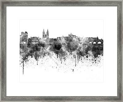 Prague Skyline In Watercolor On White Background Framed Print