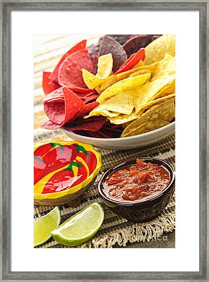 Tortilla Chips And Salsa Framed Print by Elena Elisseeva
