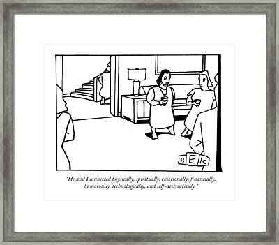 He And I Connected Physically Framed Print by Bruce Eric Kaplan