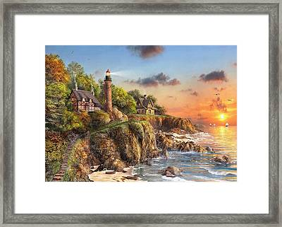 Sunset At Craggy Point Framed Print by Dominic Davison
