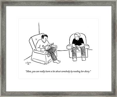 Man, You Can Really Learn A Lot About Somebody Framed Print by Emily Flake