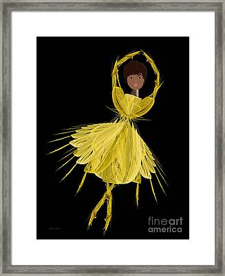 8 Yellow Ballerina Framed Print by Andee Design