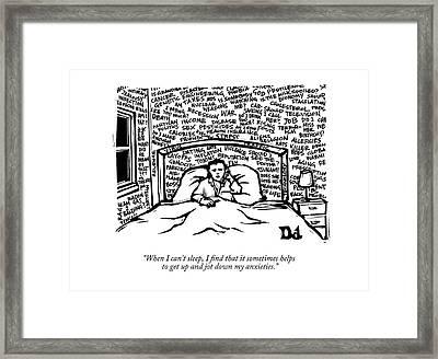When I Can't Sleep Framed Print by Drew Dernavich