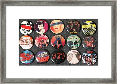 80s Music Rock Pins Framed Print