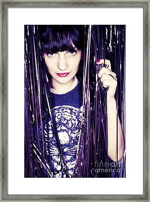 80's Retro Funky Girl Portrait Framed Print by Eldad Carin